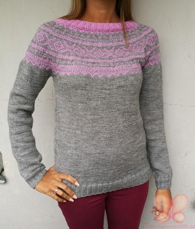 Haukeli genser (SM) Grårød | hjemmestrikk