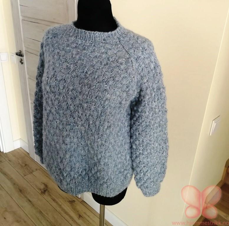 bdeec565 Håndstrikket genser (M/L) Oversize. Tåke